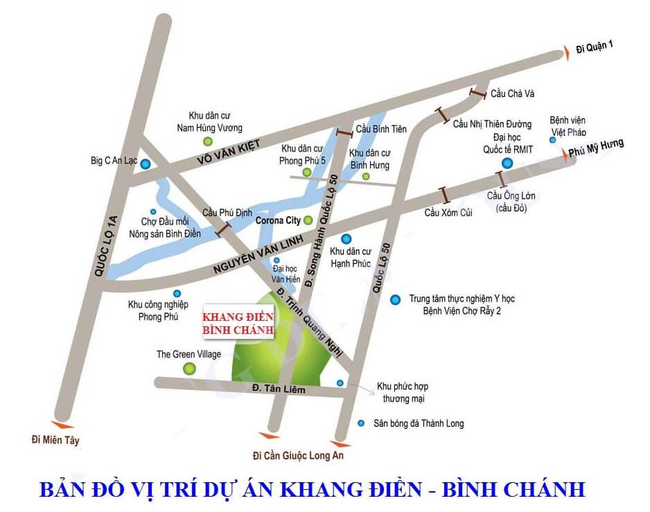 Dự án nhà phố, biệt thự Khang Điền Bình Chánh - Vị trí khang điền bình chánh