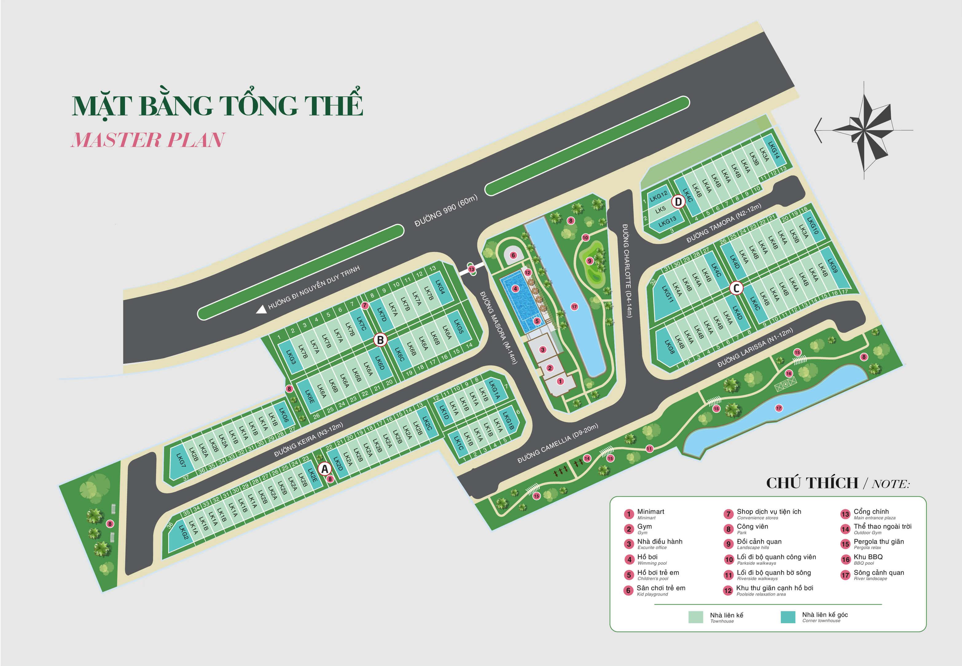 Mặt Băng Tổng thể Rosita garden Khang Điền