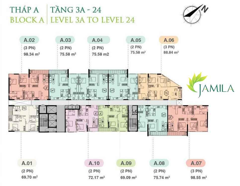 Mặt bằng thiết kế Block A căn hộ Jamila quận 9