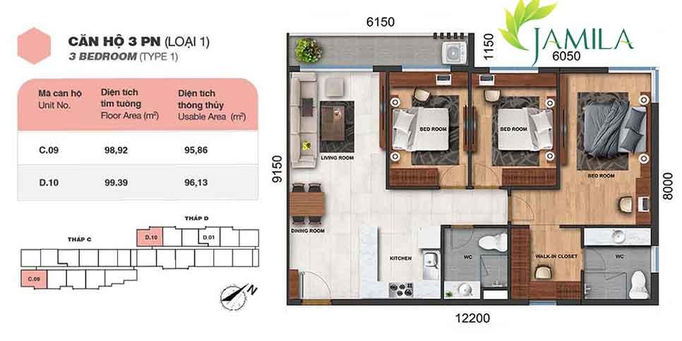 Thiết kế căn hộ 3 Phòng-Ngủ Jamila Khang Điền Quận-9