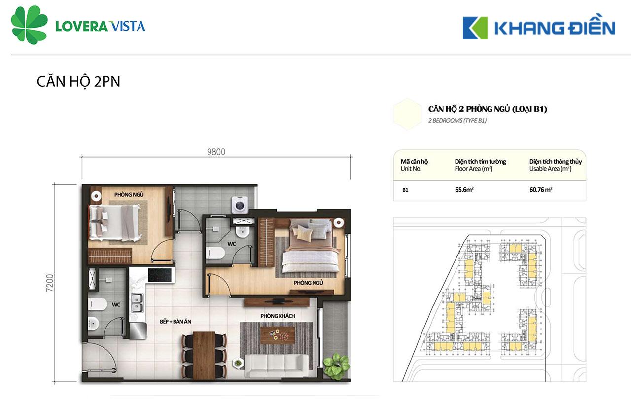 Thiết kế căn hộ Lovera Vista B1