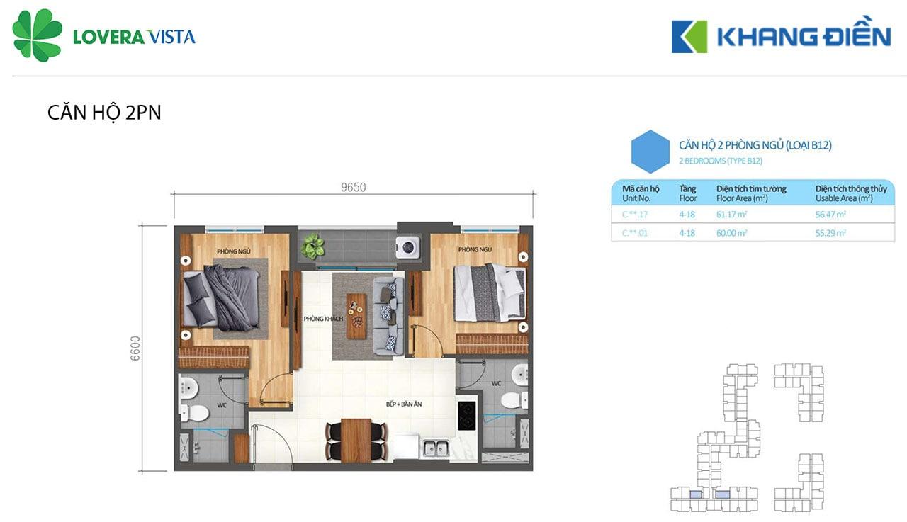 Thiết kế căn hộ Lovera Vista B12